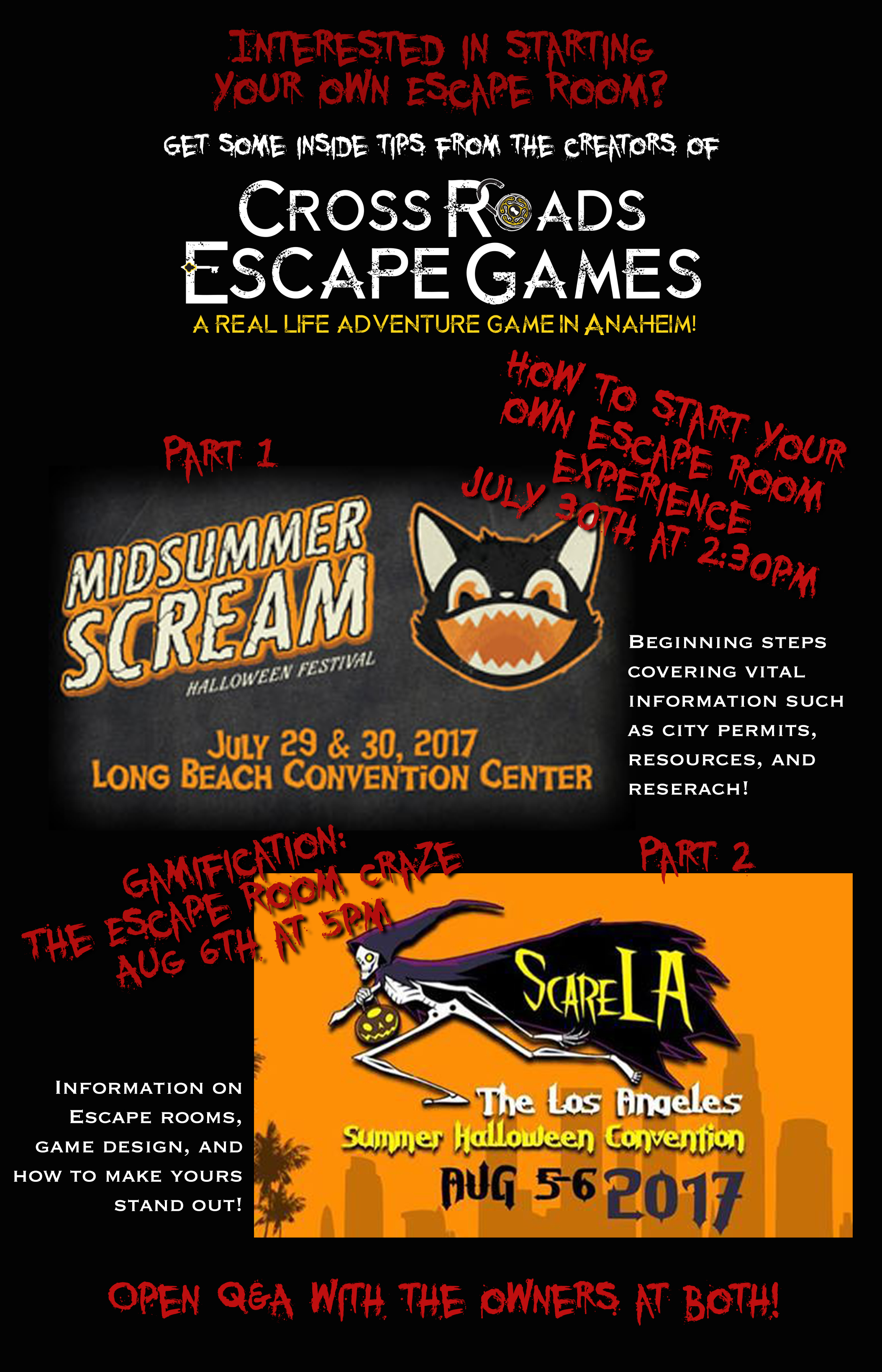 halloween convention class information - cross roads escape games